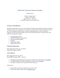 Resume Examples Retail Sales Associate Examples Of Resumes