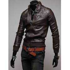 mens fashion faux fur casual motorcycle leather stand collar jacket