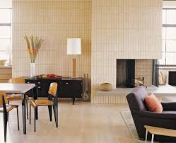 gorgeous sears electric fireplace in living room midcentury with stacked tile next to high end bedroom furniture