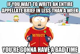 If you wait to write an entire appellate brief in less than a week ... via Relatably.com