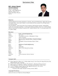 Best Curriculum Vitae Format Example Of Good Professional Sa