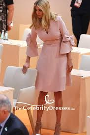 Ivanka Trump Pearl Pink V Neck Ruffled Party Dress 2019