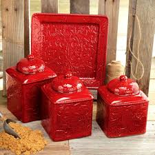 kitchen containers for sale  archaiccomely savannah red kitchen canister set and platter cabinets vintage ceramic sets accessories large size