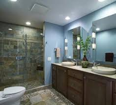 bathroom lighting over vanity. Recessed Lighting Over Bathroom Vanity With Sliding Glass Door And Drawer Using Natural Stone Tiles
