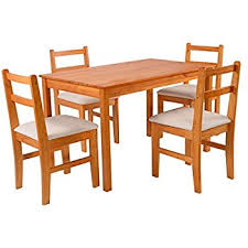 dining set wood. giantex 5 pcs pine wood dining set table and 4 upholstered chair breakfast furniture (wood