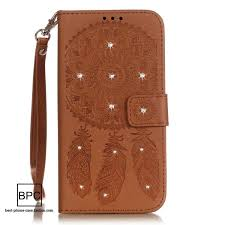 15 case iphone 7 synthetic leather lanyard strap shiny rhinestone diamond bling embossed dream catcher card slot wallet diary stand for girls