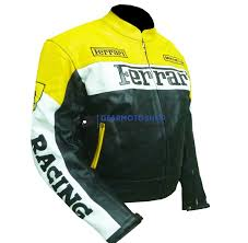Regarded with ferrari logo, insignia and marks over the surface, the ferrari motorcycle jacket is inspired with add up to pathway class. Ferrari 0301 Yellow Cow Leather Jacket