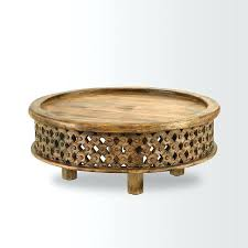 morrocan coffee table detailed view round wooden moroccan coffee table
