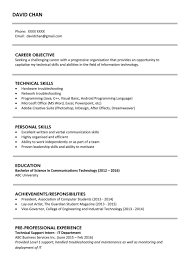 Sample Resume Templates Format For Fresh Graduates Two Page Rare