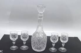 lead crystal glass decanter 4 stemmed glasses dishwasher lead crystal white wine glasses