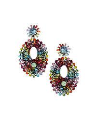 dannijo mathilda crystal chandelier earrings rainbow