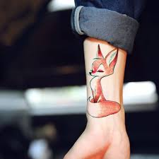 Vodotěsný Dočasné Tetování Roztomilý Veverka Liška Pes Had Zvíře