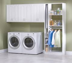 Interior:Seamless White Laundry Room Design With Fiberboard Storage Units  Also White Floor Easy Laundry