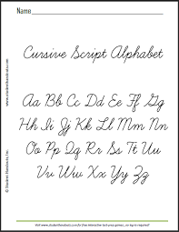 Cursive Letter Chart Free Printable Printable Cursive Alphabet This Is A Sample Sheet Of The