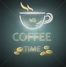 Cafe Menu Template Coffee Shop Neon Sign Vector Glowing Coffee Cup Symbol Dark Background Cafe Menu Template