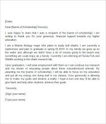 Thank You Note For Scholarship   Template Business