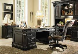 Telluride Distressed Black Finish Executive Desk with Wood Panels