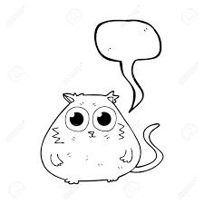 大きなかわいい目の音声バブル漫画猫をフリーハンド描画