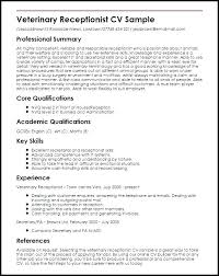 Sample Resume For A Receptionist Resume Template For Receptionist Resume Veterinarian Assistant