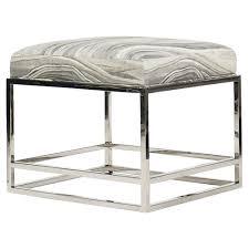 vanguard larkin modern polished steel grey marble footstool kathy kuo home