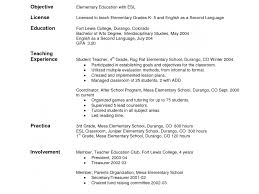 Resumes For New Teachers Rare Objectives For Teacher Resumes Esl Objective Teaching Cover 20