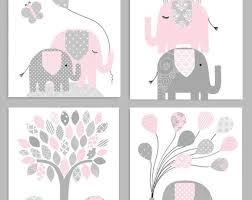 elephant nursery decor gray and pink girl zoo nursery elephant in pink giraffe wall art