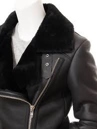 women s black shearling biker jacket dadeville side