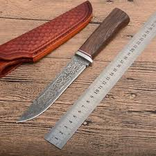 <b>Damascus Knife</b> Steel <b>Round</b> Wooden Handle Outdoor Hunting ...
