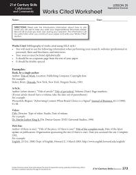 Work Cited Works Cited Worksheet