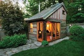 Cozy Fireplace Reclaimed Wood in Tiny Backyard Studio Office