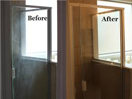 before and after dirty shower door