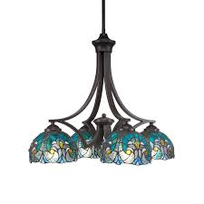 chandelier with turquoise crescent tiffany glass hover to zoom
