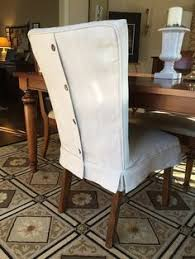 pam morris sews dropcloth slipcovers for leather parsons chairs