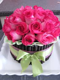 Beautiful Birthday Cake And Flowers Images Semi Naked Layer With