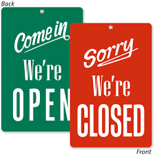 office will be closed sign template 2 sided come in we are open sorry closed be back sign sku bb 1010
