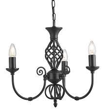 zanzibar matt black wrought iron 3 lamp ceiling light