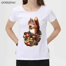 How To Draw Girl Shirts Aliexpress Com Buy Fashion Women T Shirt Hand Draw Squirrel Design