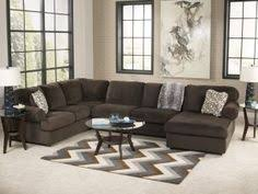 ashley furniture 3 pc jessa place ii collection chocolate fabric upholstered sectional sofa with chaise and rounded arms