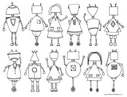 Small Picture Printable Robot Coloring Page Dabbles Babbles