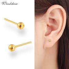 7 Size Yellow Gold Color Piercing Slim Small Round Ball Stud Earrings For Women Men Children Baby Girls Kids Jewelry Aros Arete