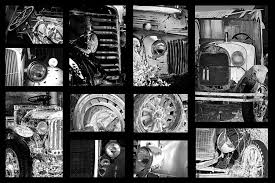 Collage Photograph - Classic Car Collage In Black And White by Phyllis  Denton