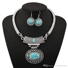 vintage turquoise stone necklace silver plated tibetan big water drop statement chunky choker hollow out jewlery set factory whole uk 2019 from