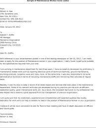 maintenance job cover letter sample - Maintenance Cover Letter Sample
