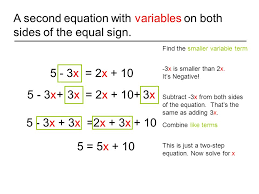 a second equation with variables on both sides of the equal sign