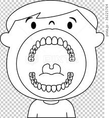 子ども 小学生 歯列 口の中 イラスト ベクター モノクロのイラスト素材