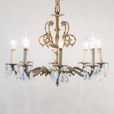 vintage spanish brass and crystal 8 light chandelier with iridescent glass prisms 450