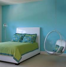 Small Chair For Bedroom Chic Hanging Chair With Soft Blue Wall Color And Green Bed Sheet