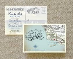 Vintage Map Postcard Save The Date Santa Barbara Ca