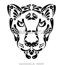 Stock Vektor Panther Tattoo Symbol Decoration Illustration Bez