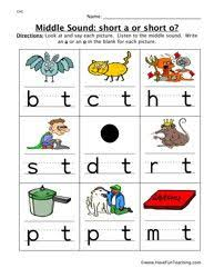 Middle Sounds A or O Worksheet | Middle sounds, Phonics kindergarten, Middle sounds worksheet